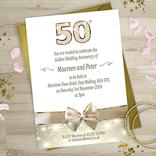 Wedding anniversary party invites amazon golden wedding anniversary invitations gold bow design personalised with free gold envelopes and proof please email wording before ordering see full stopboris Gallery