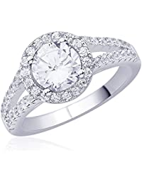 Diwali Gifts Peora Sterling Silver Rhodium Micro Pave CZ Clear Cocktail Ring (PR995W-7)