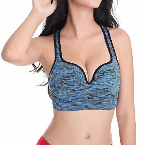 Ming Soutiens-gorge de sport Femme Débardeurs sportswear Dégradé de couleurs Sans Armature Amovible Elastics Exercices Fitness Bleu