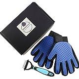 Hankering Fellpflege Set- 2PCS Pet Bürste Handschuh & 1PCS Hundebürste | Katzenbürste für Hund Katze Fellpflege und Reinigen -Haustier Grooming