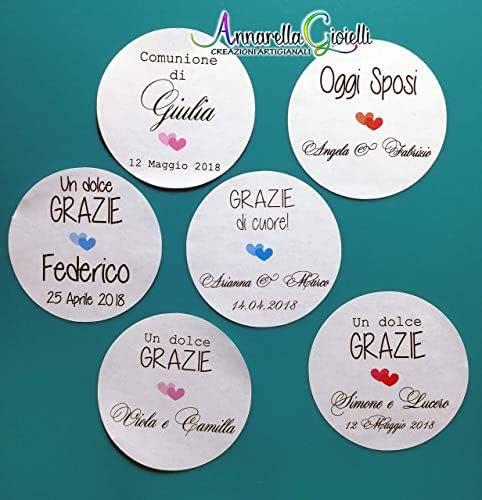 Adesivi personalizzati matrimonio, varie misure, a partire da 20 pezzi, etichette matrimonio, battesimo, thank you stickers, grazie, comunione, cresima, laurea, tondo, quadrato.