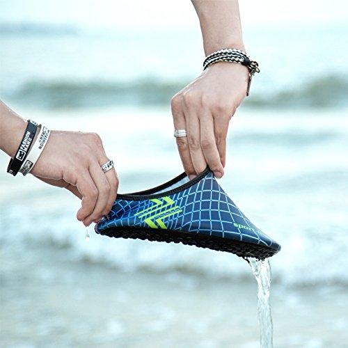 SAGUARO® Pelle Scarpe piedi nudi acquatico Aqua calzini per Beach Swim Surf Yoga Blu