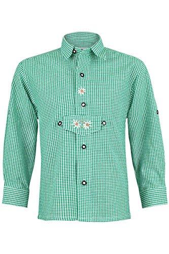 Isar-Trachten Jungen Trachten Kinderhemd Grün, Grün, 116