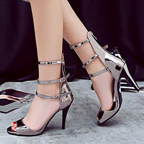 Stiletto Gladiator Gunmetal Sandalen Taoffen Elegant Mit Zipper Damen Schuhe qRAp7Zw
