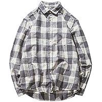 Blusa de Hombre, BaZhaHei, Tops de Manga Larga para Hombre en Cuadros de Hombre del Camisas de Manga Larga de Cuadros de algodón a Cuadros de Moda Casual de algodón de los Hombres Camisetas