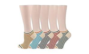 RioRiva socquettes chaussettes basses pour femme et fille chaussettes de sport décontracté en coton peigné à rayures