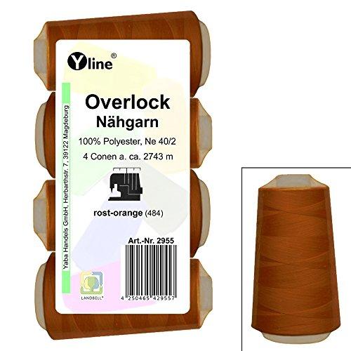 4 Stück Spulen Overlock - Nähgarn, rost - orange, a. 2743 m, NE 40/2, 100% Polyester, Nähfaden, Nähmaschinen Garn, 2955