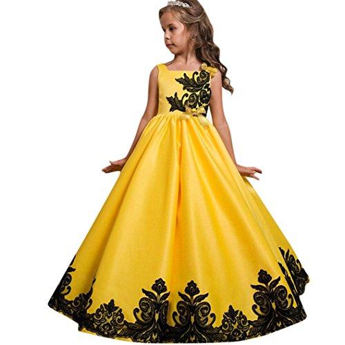 Vestito abito formali principessa,beauty top abito costumi vestire ragazza frozen bambina vestito carnevale tulle diadema cosplay compleanno belle disney (giallo, 7-8 anni)
