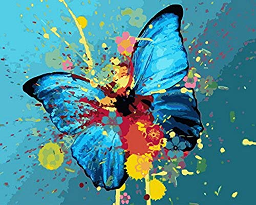 Ölfarbe nach Anzahl DIY Paint für Anfänger Junior Abstract Blue Butterfly Geschenk für Erwachsene Kid-No Frame 40X50Cm