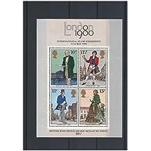 Segunda hoja de sellos miniatura Oficina de Correos británica - London 1980 Internacional SGMS1099 exposición filatélica
