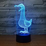 Leisurely Lazy Duck Shape 3D Optical Illusion Lamp 7 Colors Change and 15 Keys Remote Control LED Night Light Perfect Gifts Toys