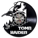 BiuTeFang Wanduhr Schallplatten Vinyl Grab Raider Kreis Hohl Kreative Vinyl Record Uhr Ethylen Material Antik Klassische Art-Deco-Wanduhr