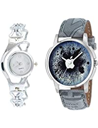 The Shopoholic Combo Latest Fashionable Blue And Silver Dial Analog Watch For Boys -Watch For Couple-Combo Watch...