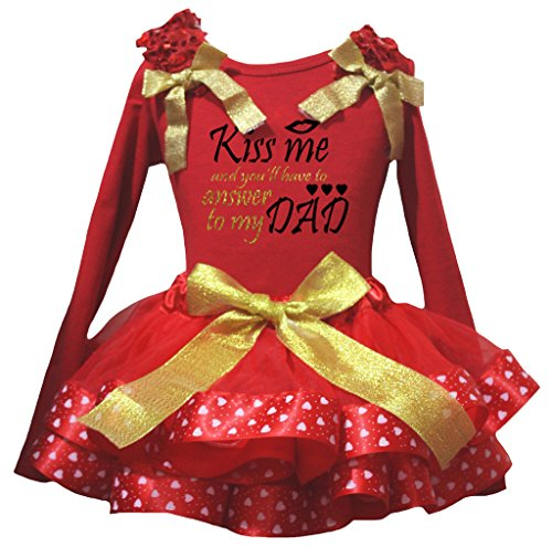 Petitebelle Kiss Me To My Dad L/s Shirt Red Valentine Heart Petal Skirt Nb-8y