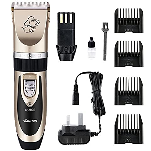 Electric Pet Grooming Clippers, Contever Rechargeable Cordless Pet Hair Shaver, with Low Noise Low Vibration, Cordless Pet Fur Grooming Set with 4 Comb Guides, Oil and Cleaning Brush for Dogs