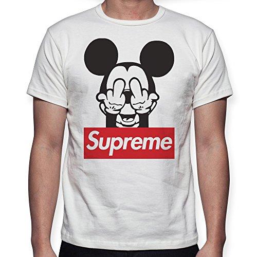 Beimpress t-shirt maglia mouse logo - replica - uomo donna unisex - bianca (12-14 anni)
