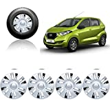 #3: Auto Pearl - Premium Quality Car Silver Black Wheel Cover Caps 13 Inches Press Type Fitting For - Datsun Redi Go