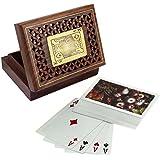 Caja de madera tarjeta de juego para el almacenamiento - titular de la tarjeta de juego con la cubierta de la tarjeta - juegos de cartas -12.2 x 8,9 x 3,8 cm