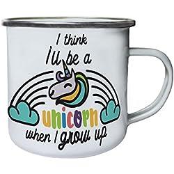 Creo que seré unicornio cuando crezca Retro, lata, taza del esmalte 10oz/280ml bb555e