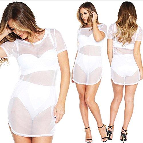 Perspektive der weiße Gaze Kleid Clubbing Rock,M -