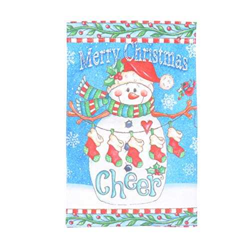 NUOBESTY Weihnachten Druck Garten Flagge winterurlaub sackleinen Hof außendekoration schneemann weihnachtsmann Flagge Garten Ornament für außenhof ohne fahnenmast (406)