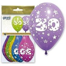 GLOBO LÁTEX IMPRESO 360º CON EL NÚMERO 30, SURTIDOS DE COLOR Pq 6 UND. Especial para decoraciones, fiestas de cumpleaños, aniversarios (30 AÑOS)