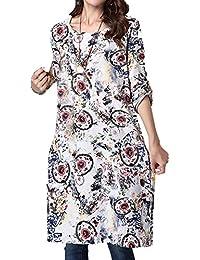 P Ammy Fashion Women s Retro Floral Patterned Cotton and Linen Oversized Long  Dress e3bf198d93d5
