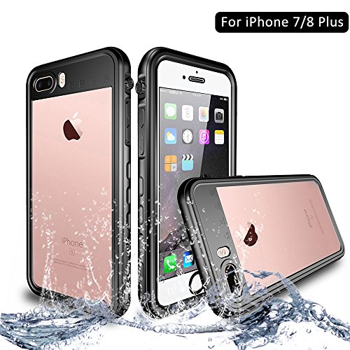 NewTsie iPhone 7/8 Plus Wasserdicht Stoßfest Hülle, IP68 Zertifiziert Schutzhülle Staubdicht mit Eingebautem Displayschutzfolie für Apple iPhone 7/8 Plus 5.5 inch (T-Schwarz)