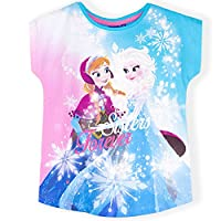 Official Disney Frozen, Girls Short Sleeve Top, T-Shirt 100% Cotton - Turquoise 6