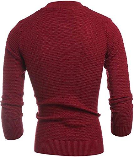 jeansian Herren Casual Star Jacquard Zipper Cardigan Sweater Knit Winterwear Jumper Jacket 88H6 WineRed