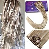 LaaVoo 16 Zoll 9pcs Clip in Natürliche Haarverlängerungen #18/22/60 Aschblond bis Mittel Blond und Platin Blondine Remy Soft Human Hair 100 Gramm