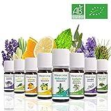 Bio Lavendelöl Pfefferminzöl Zitronenöl Eucalyptus Süßorange Zitronengras Lavendin Atlas Zeder Ätherische Öle Set 100% Naturrein Duftöl Aromatherapie Set für Diffuser
