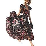 JileSM Fashion Lady Kleid Frauen Bohemian Floral Sexy V-Ausschnitt Unregelmäßige Vintage Strand Langes Kleid mit Gürtel für Frauen Kleiden (Farbe : Black, Größe : L)