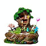 Sunferkyh-Hm, statuette da giardino in miniatura, casette di pietra, decorazione per giardino delle fate, castello per albero, casa per cortile, prato, decorazione invernale, Resina, Vasi, 22*22*19cm