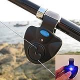 Pesca Mare Polo Buffer di allarme con luce a LED di allarme elettronico allarme clip-on Nero