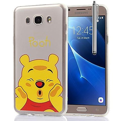 VComp-Shop® Transparente Silikon TPU Handy Schutzhülle mit Motiv Cartoon Disney für Samsung Galaxy J7 (2016) + Großer Eingabestift - Winnie the Pooh