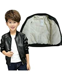 Style Madness Baby Boy Leather Jackets/Kids Black Leather Jackets/Children's Jacket - with Fleece Layer Inside (Pack of 1)