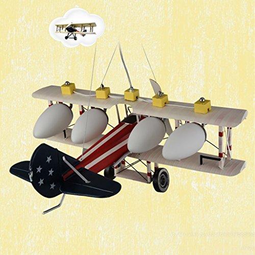 Guo Kinderzimmer-Lichter Jungen-Raum-Flugzeug-Lichter Kronleuchter-Pers5onlichkeit-kreative Eisen-Lampen E27 Lampen-Hafen - 4