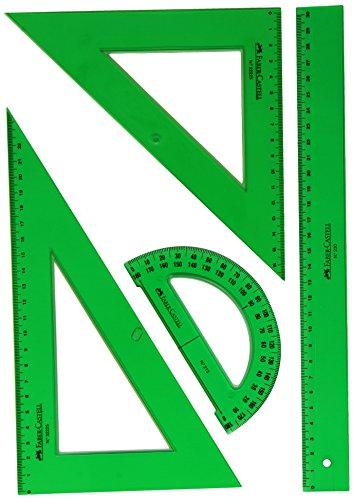 Faber Castell 65021 - Pack escolar con escuadra, cartabón, regla y semicírculo,...