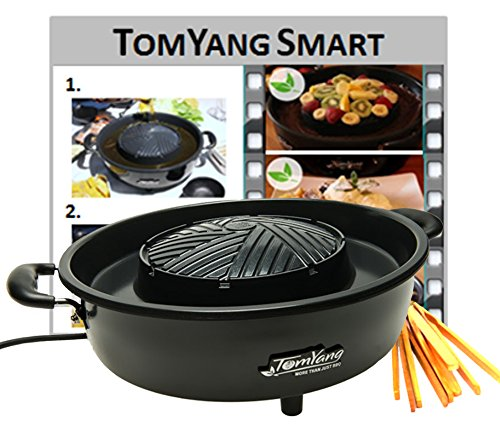 TomYang BBQ GR-01H, barbecue elettrico da tavola per grigliate, cucina Thai e hot pot