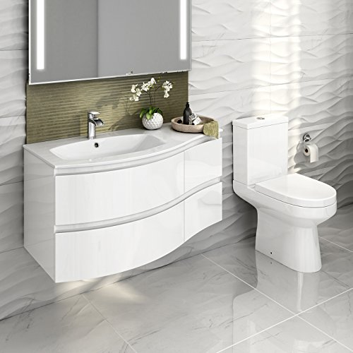 Gloss white bathroom suite two piece curved wall hung - White gloss bathroom vanity unit ...