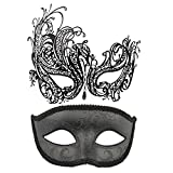 Coddsmz Pareja máscara de Disfraces Máscaras de Metal Máscara Veneciana Máscara de Disfraces de Halloween Mardi Gras Máscara (Negro + Negro)