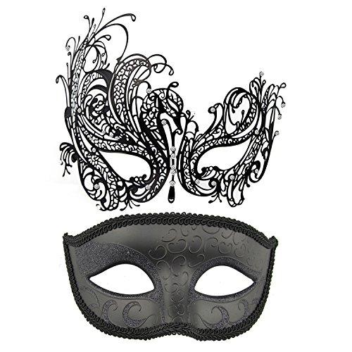 (Coddsmz Paar Maskerade Maske Metallmasken Venezianische Partei Maske Halloween Kostüm Maske Karneval Maske (Schwarz + Schwarz))