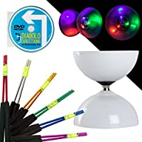 LED Big Top Light Up Bearing Diabolo Set with Coloured Aluminium Diablo Sticks & Diabolo Directions Instruction DVD! Select Stick Colour! Batteries Included