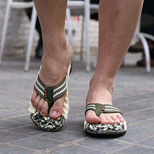 Xing Lin Sandales Pour Hommes Piscine DÉté Et Sandales Pour Hommes Chaussons Tongs Sandales Marée Massage Friction Camouflage Green