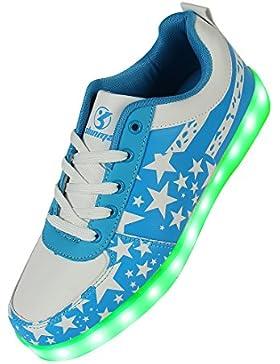LED Schuhe,Shinmax Leuchtende Sneakers Unisex 7 Farbe USB Aufladen Leutchtschuhe Sport LED Kinderschuhe für Unisex-Erwachsene...