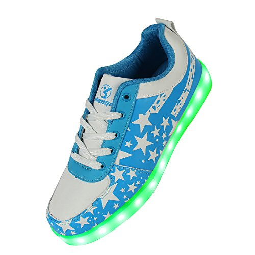 Shinmax Blue Star Pattern LED Schuhe 7 Farben USB-Lade Schuhe Leuchtschuhe Sneakers für Männer und Frauen zum Valentinstag Weihnachten Halloween mit CE-Zertifikat - size_name: 45 EU, color_name: Blau star (Halloween Für Namen)