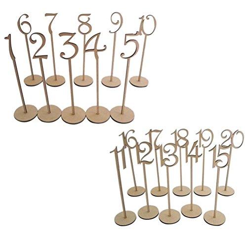 Pixnor 1 fino a 20 numeri di tavolo in legno con supporto Base per nozze decorazione partito confezione da 20 - Ricevimento Di Nozze Tavolo Decorazioni