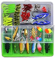 101 Pcs Fishing Lure Set Hard and Soft Bait Hook with Tackle Box