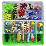 طقم طعوم لصيد السمك وخطافات للطعم صلبة وطرية، يتكون من 101 قطعة، مع صندوق عدة